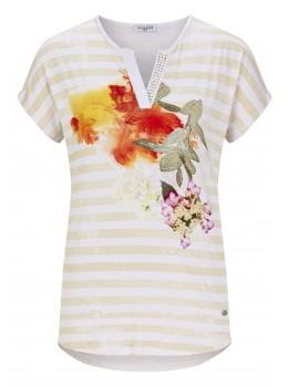 Print Shirt mit Strass am Ausschnitt