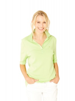 Feminines Poloshirt Feinripp Halbarm