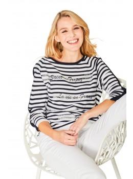 Modischer Feinstrick-Pullover Dreiviertelarm