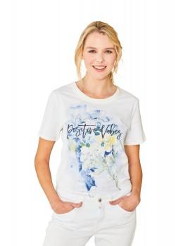 Feminines Shirt Rundhals Halbarm