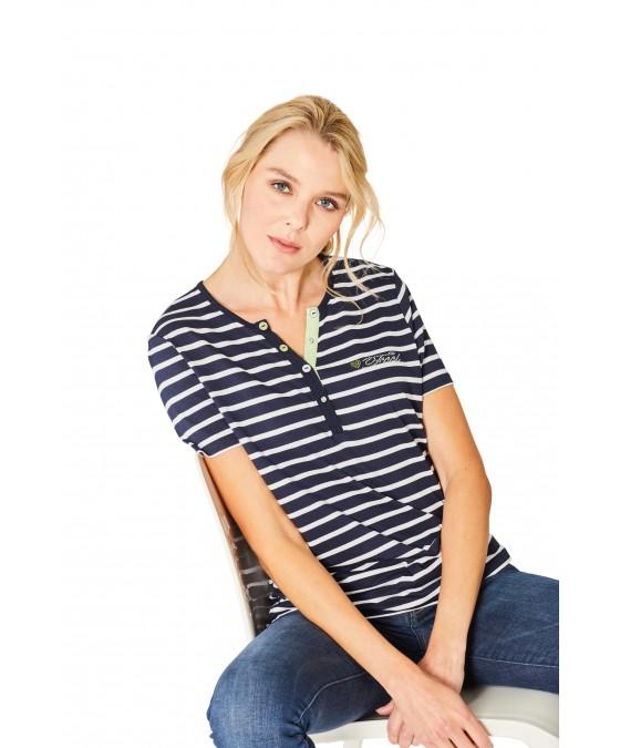 Feminines Shirt Y-Ausschnitt Halbarm 18870-609 front