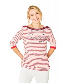 Feminines Shirt U-Boot-Ausschnitt Dreiviertelarm