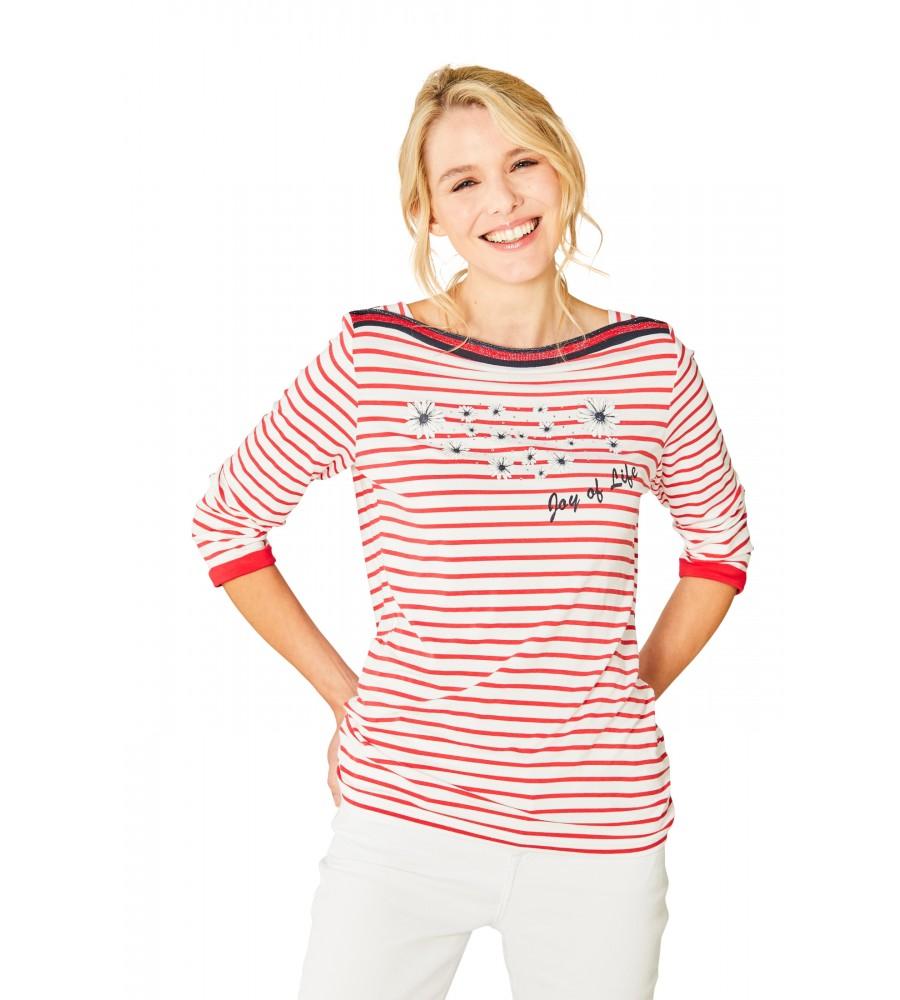 Feminines Shirt U-Boot-Ausschnitt Dreiviertelarm 18882-343 front