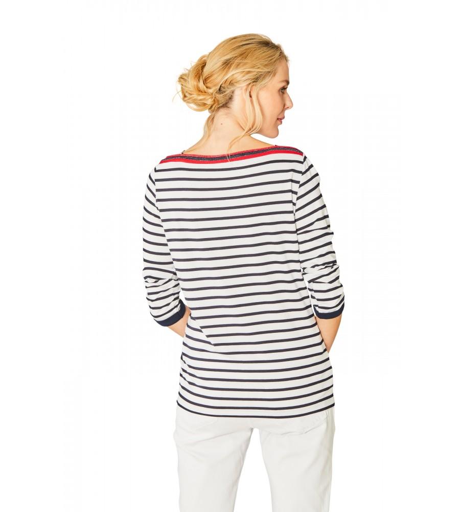 Feminines Shirt U-Boot-Ausschnitt Dreiviertelarm 18882-609 back