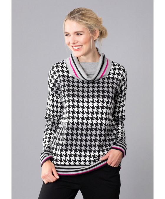 Pullover mit Pepita Jacquard 18943-124 front