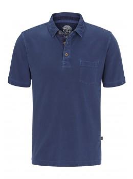 Poloshirt Pikee indigo gefärbt