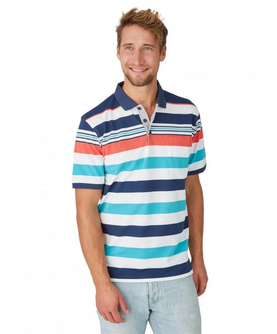 Pikee-Polo mit Ringelverlauf in ausdrucksstarken Farben 26626-638 front
