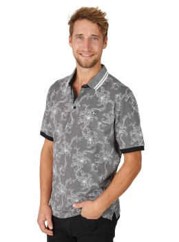 Pikee-Poloshirt mit tollem Alloverdruck