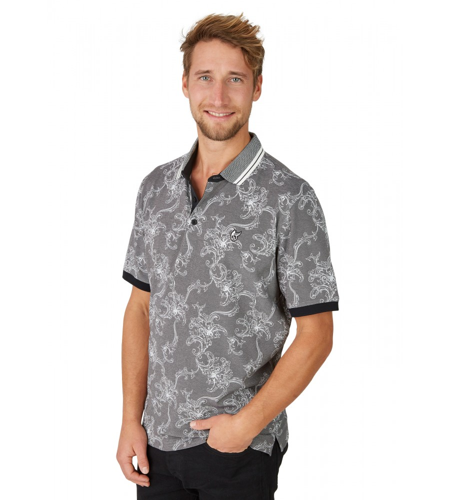 Pikee-Poloshirt mit tollem Alloverdruck 26629-100 front