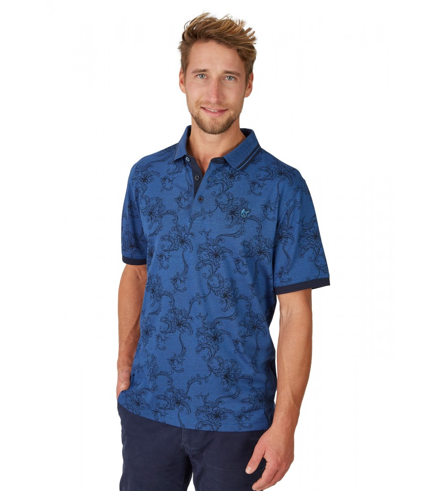 Pikee-Poloshirt mit tollem Alloverdruck 26629-609 front