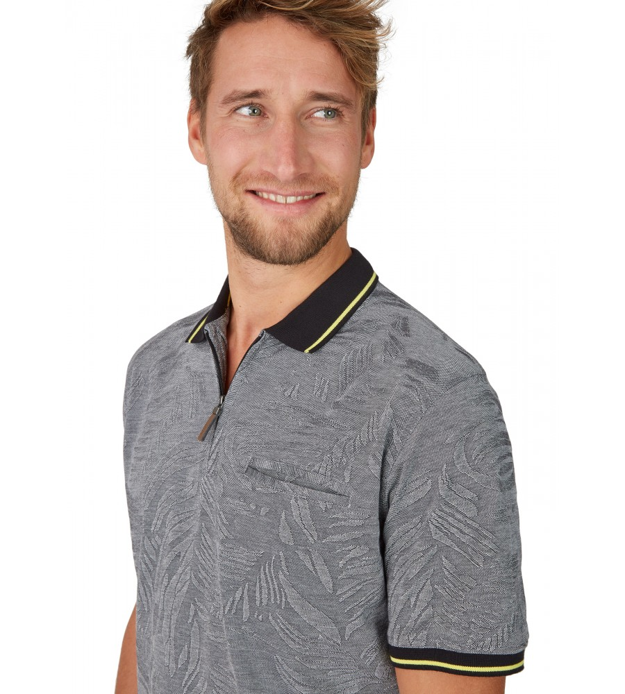 Poloshirt in tonigem Alloverjacquard 26647-100 detail1