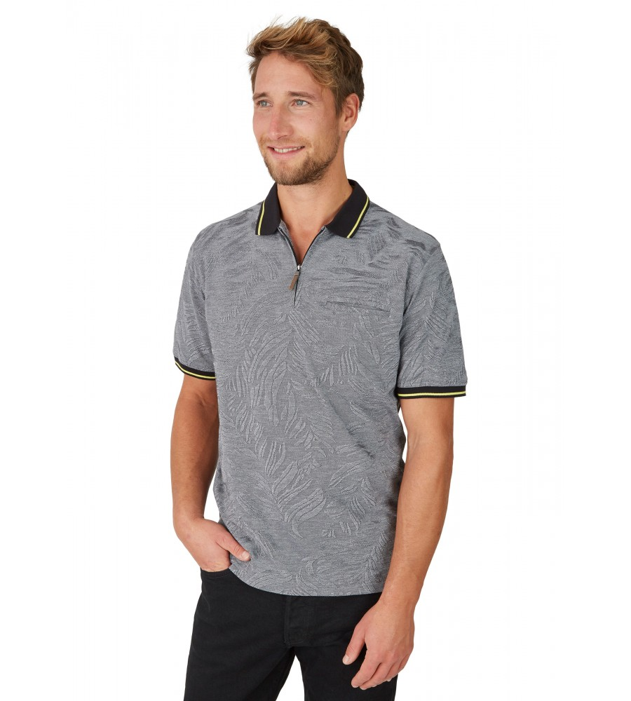 Poloshirt in tonigem Alloverjacquard 26647-100 front
