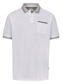 Pikee-Poloshirt mit aufwändig gestricktem Kragen