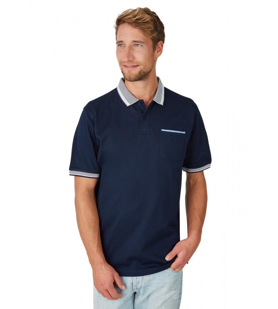 Pikee-Poloshirt mit aufwändig gestricktem Kragen 26696-609 front
