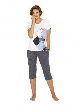Capri-Schlafanzug mit Frontdruck