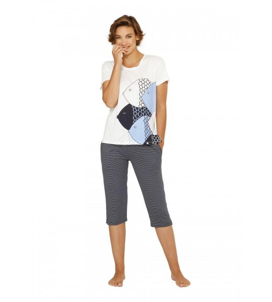 Capri-Schlafanzug mit Frontdruck 45074-200 front