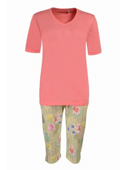 Capri-Schlafanzug mit floralem Druck