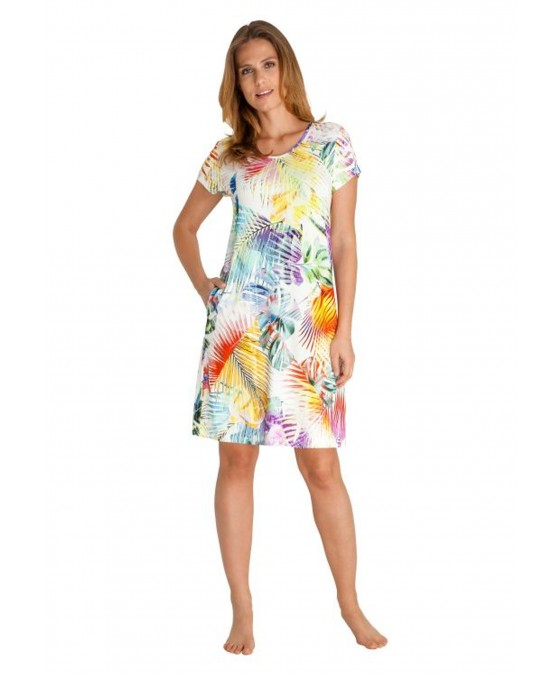 Strandkleid mit bunten Palmenblättern 80921-990 front